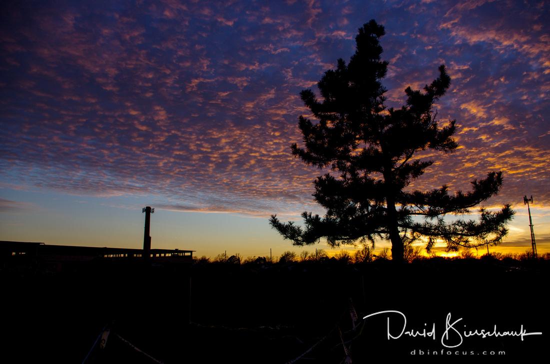 Sun setting over JMHS